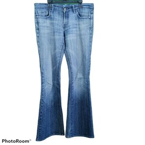 For All Mankind Size 29 Blue Painted Flare Jeans